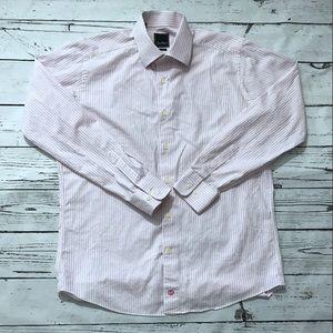 David Donahue Shirts - DAVID DONAHUE - Pink Trim Fit Stripe Dress Shirt